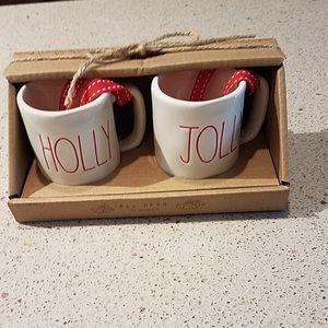 Rae Dunn holly jolly mini mug ornaments